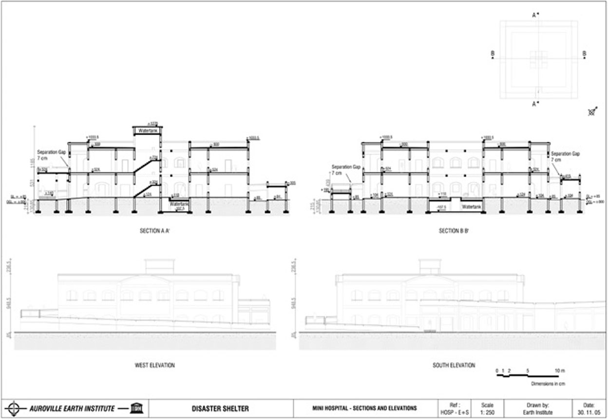 Plan Elevation Section Of Hospital : Auroville earth institute